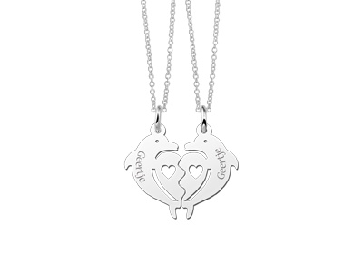 Names Silver dolphin necklaces for 2 friends
