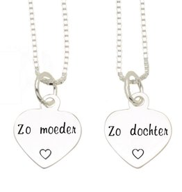 KAYA sieraden Silver Mom & Me chains ' Like mother, Like daughter'