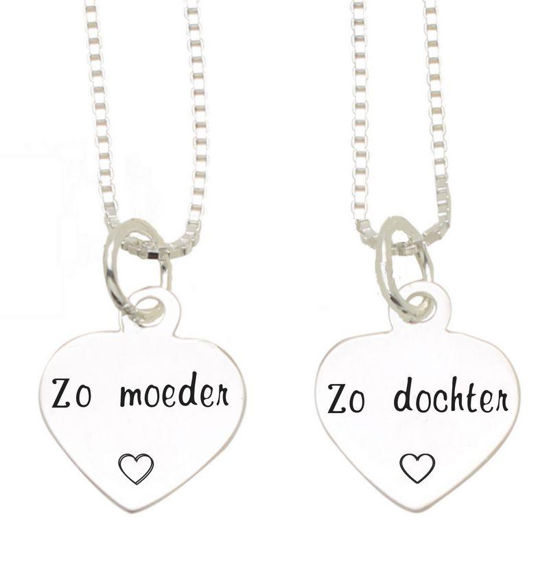 KAYA sieraden Zilveren Mom & Me kettingenset 'Zo moeder, Zo dochter'