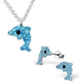 KAYA sieraden Set 'Blauwe Dolfijntjes'