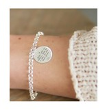 Silver Chain Bracelet with Coin (17 mm)