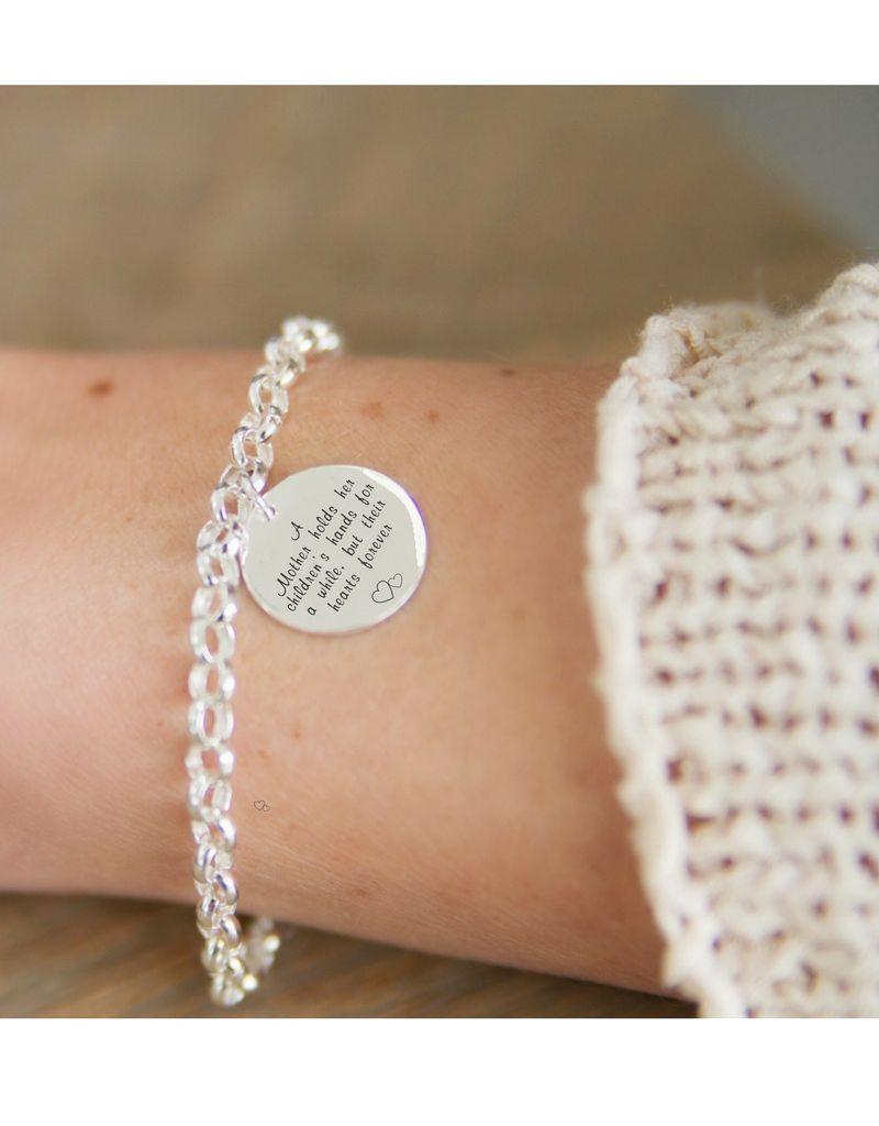 ★kies je tekst★ Zilveren armband 'Munt'