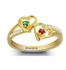 Gepersonaliseerde sieraden Personalized Gold Ring with two birthstones