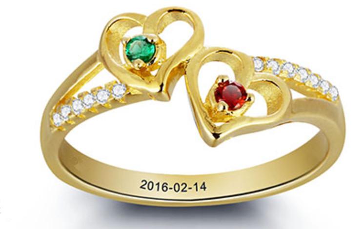 Gepersonaliseerde Gouden Ring 'twee geboortestenen'