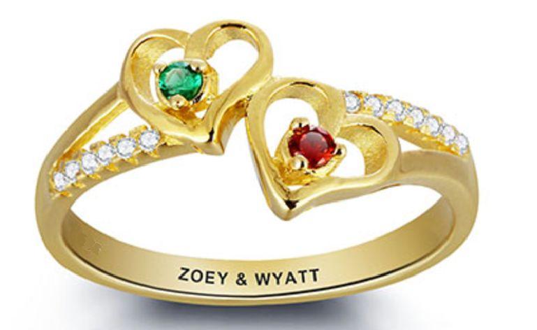 juwelora Gepersonaliseerde Gouden Ring 'twee geboortestenen'