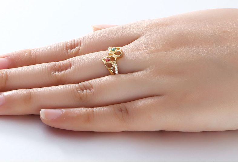 Gepersonaliseerde sieraden Goud Vergulde Gepersonaliseerde Ring 'Harmony' met Geboortestenen en Gravure