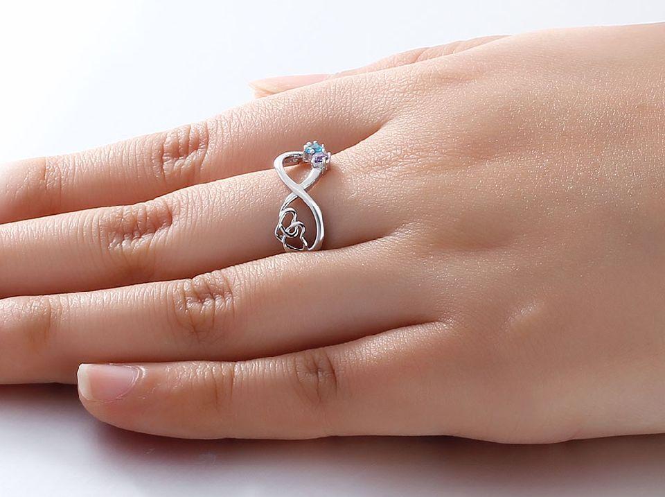 Gepersonaliseerd Infinity ring two birthstones' infinite love.