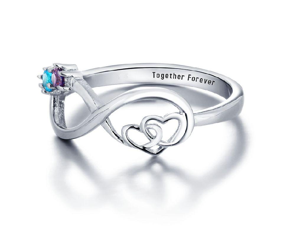 juwelora Infinity ring 2 geboortestenen 'oneindige liefde'.