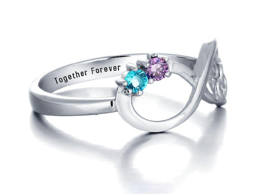 Gepersonaliseerde sieraden Zilveren Gepersonaliseerde Ring 'Always' met Geboortestenen en Gravure