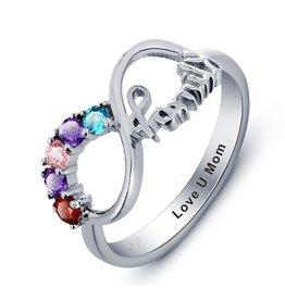Gepersonaliseerde sieraden Ring with five birthstones 'family'