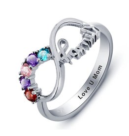 juwelora Ring with five birthstones 'family'