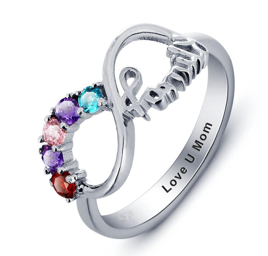 Gepersonaliseerde sieraden Zilveren Gepersonaliseerde Ring 'Family Forever' met Geboortestenen en Gravure