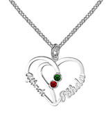 Silver Necklace 'Heart Shape with two birthstones'