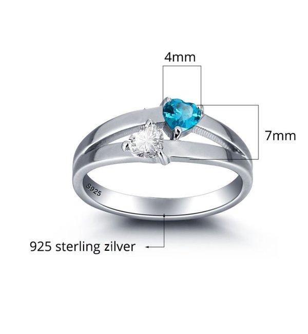 Gepersonaliseerde sieraden Ring met Geboortesteen 'Double Hearts' met Gravure