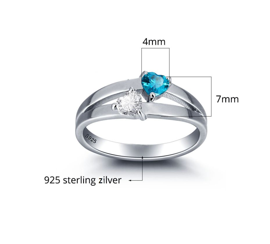 Gepersonaliseerd Silver ring with 2 birth stones 'double hearts'