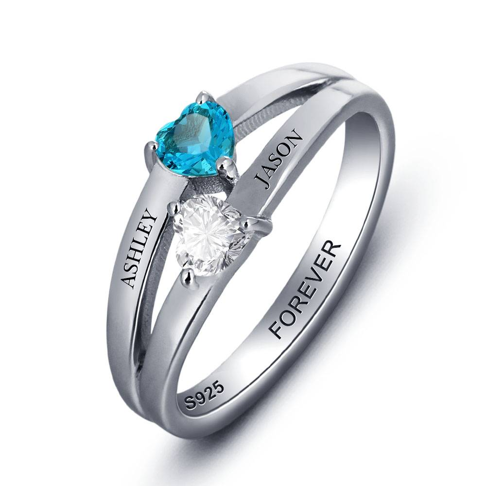 juwelier Silver ring with 2 birth stones 'double hearts'