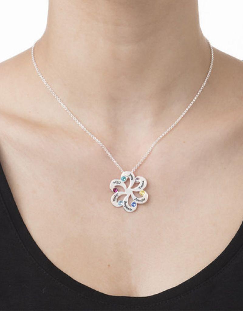 Gepersonaliseerd Birth Stones Necklace silver 'family flower'