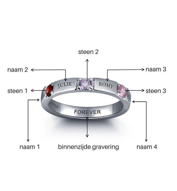 Gepersonaliseerde sieraden Zilveren Gepersonaliseerde Ring 'Love Story' met Geboortestenen en Gravure