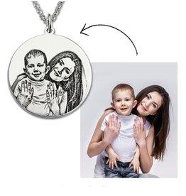 Gepersonaliseerde sieraden Zilveren ketting met foto