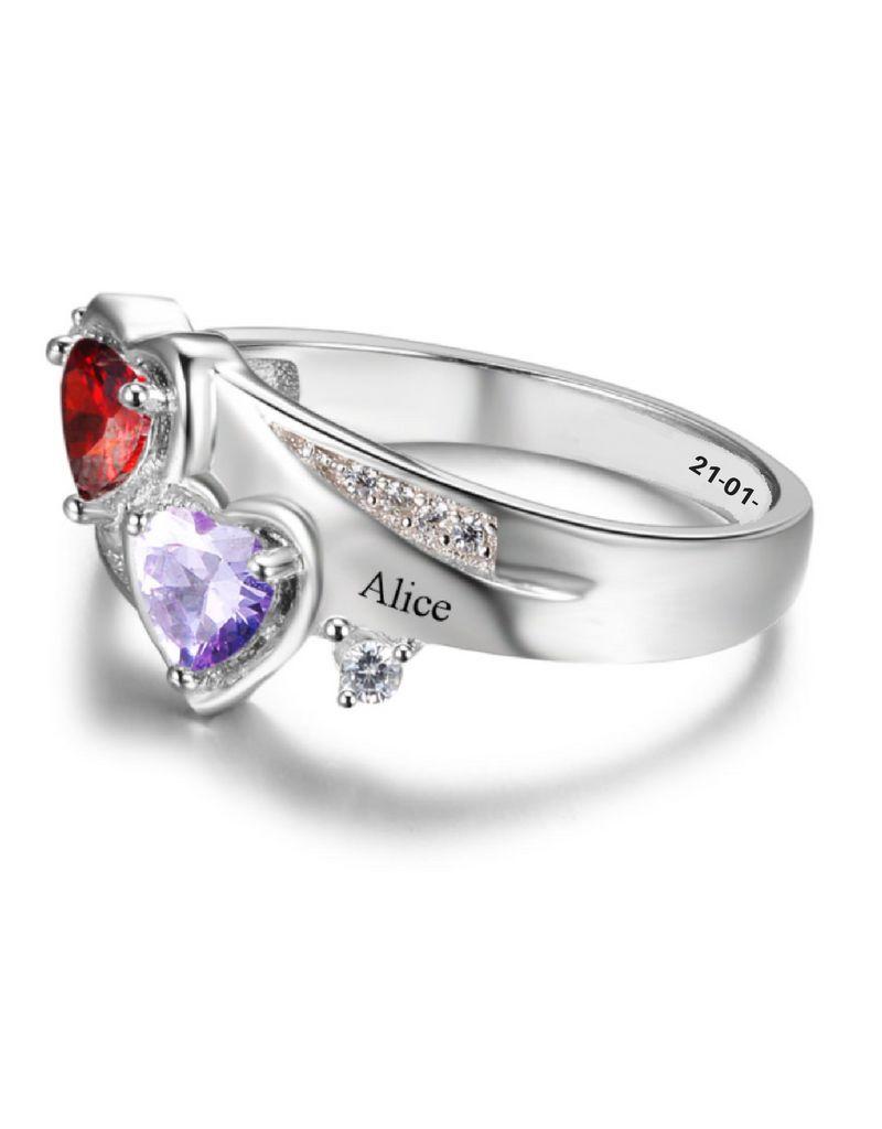 Gepersonaliseerde sieraden Zilveren Gepersonaliseerde Ring 'Feelings' met Geboortestenen en Gravure