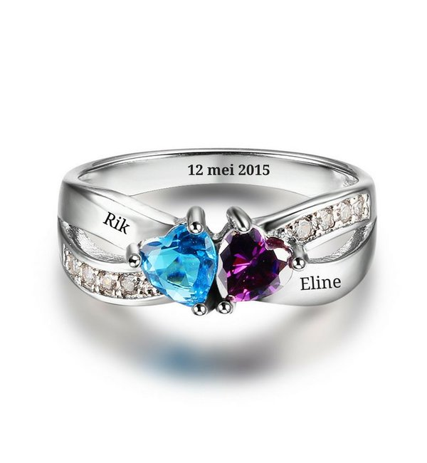 Gepersonaliseerde sieraden Call with two birthstones 'love'