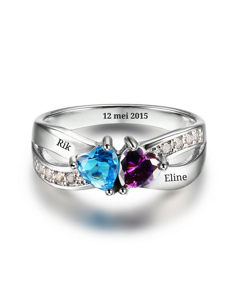 juwelora Ring met twee geboortestenen 'liefde'