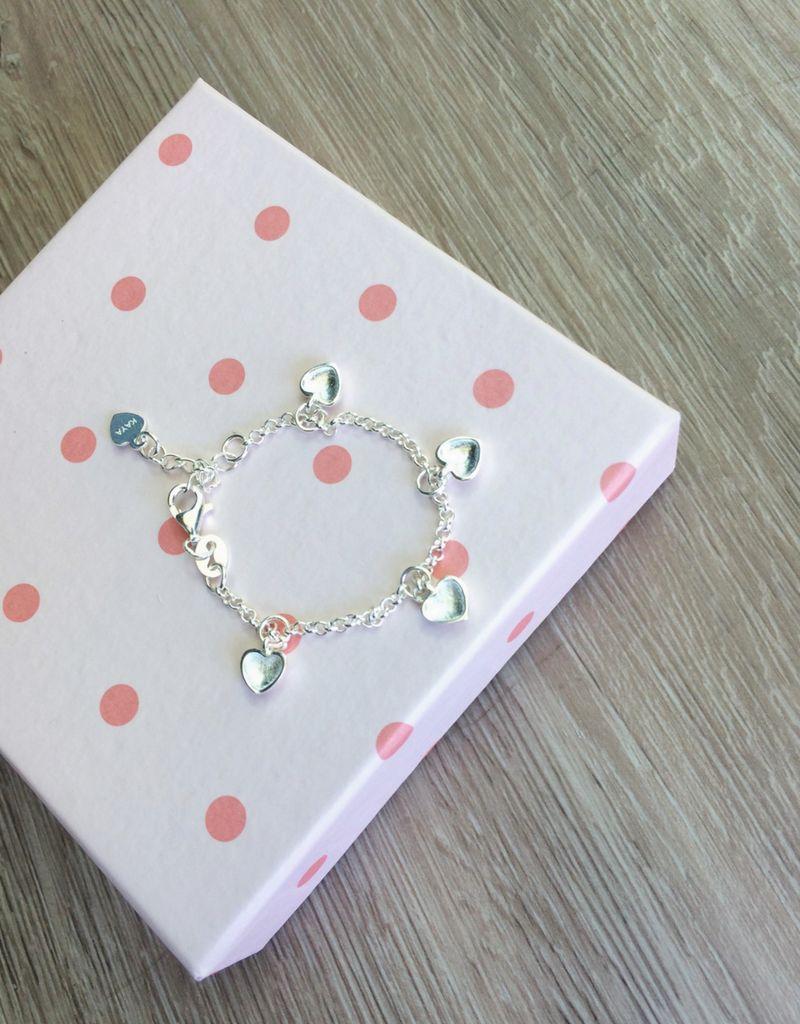 Zilver babyarmbandje 'hearts'