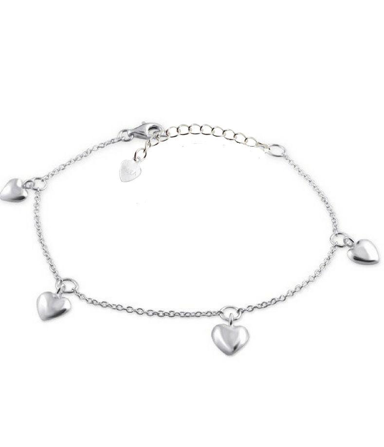 Silver baby bracelet 'hearts'