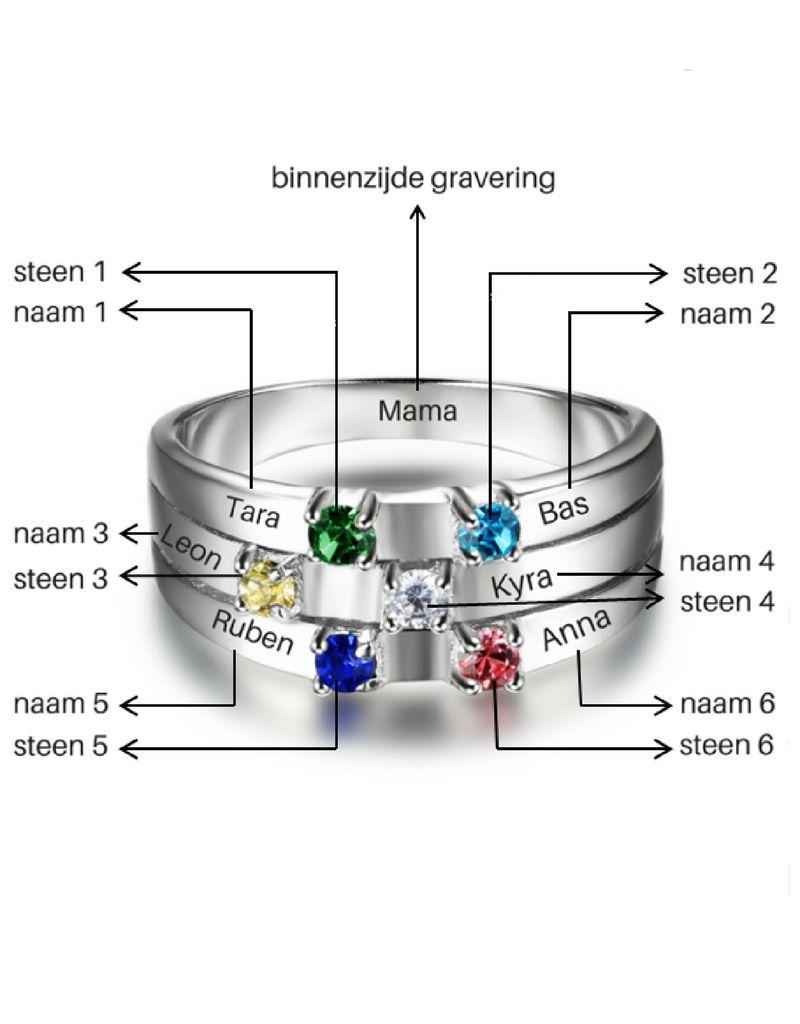 juwelora Ring met 6 geboortestenen 'family'