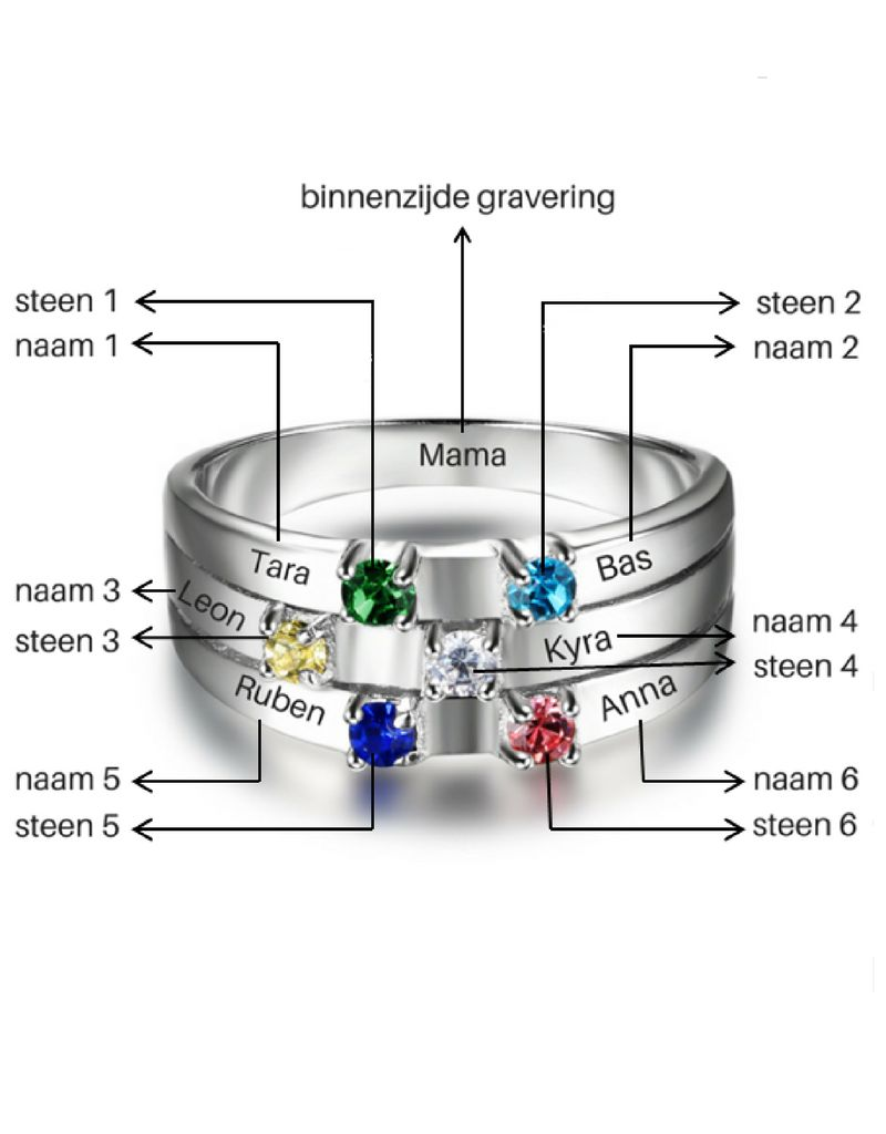 Ring met 6 geboortestenen 'family'