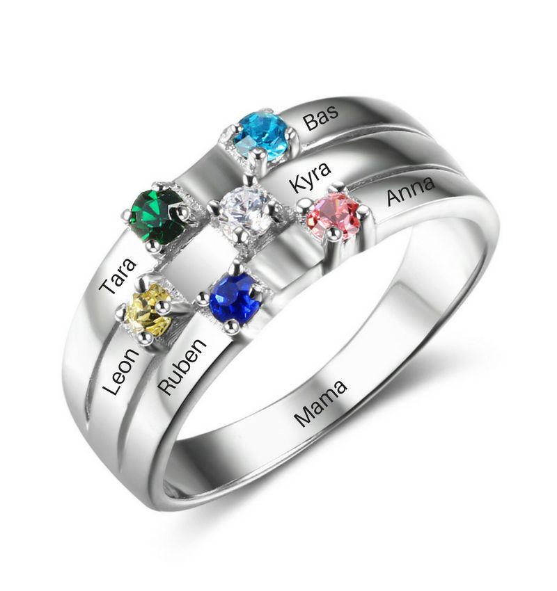 juwelier Ring met 6 geboortestenen 'family'