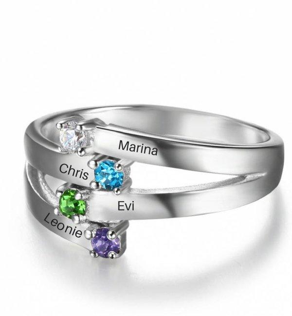 Gepersonaliseerde sieraden Zilveren Gepersonaliseerde Ring 'Dedication' met Geboortestenen en Gravure