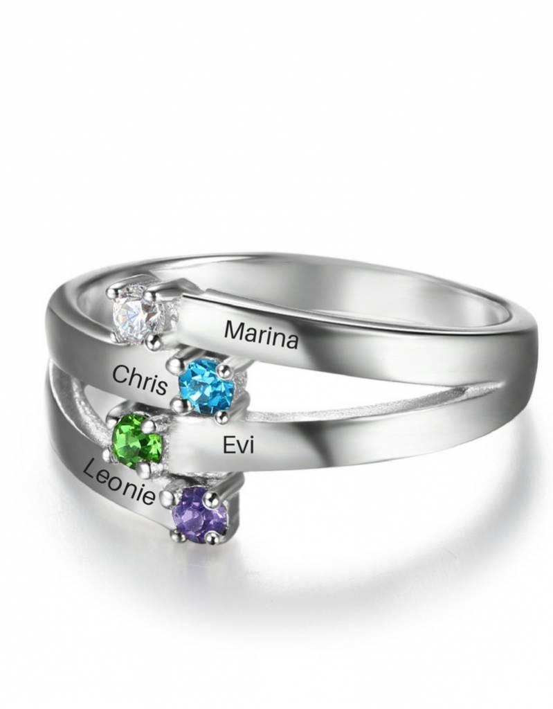 Ring met vier geboortestenen