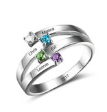 Gepersonaliseerd Ring met vier geboortestenen