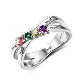 juwelier gepersonaliseerde ring met geboortestenen '4 in a row'