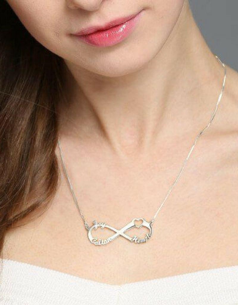 Infinity necklace 'Love my 3 kids'