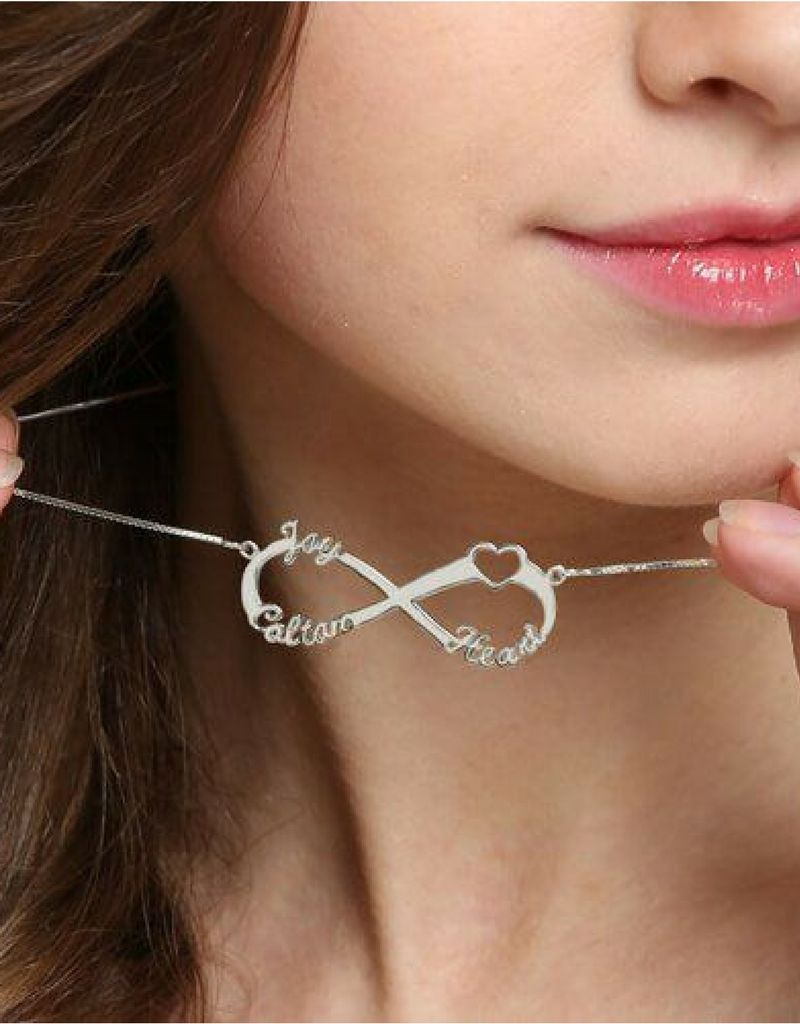 juwelora langzaam Infinity necklace 'Love my 3 kids'