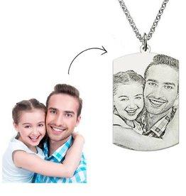 gravure L Zilveren ketting met foto