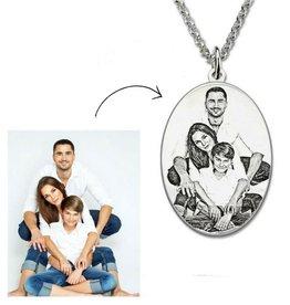 Gegraveerde sieraden Zilveren ketting met foto