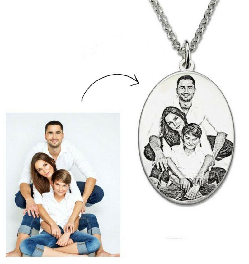 juwelierL Zilveren ketting met foto 'ovaal'