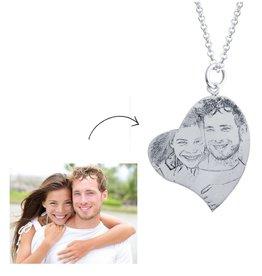 Gepersonaliseerd Zilveren ketting met foto 'hart'