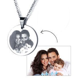 Gepersonaliseerd Necklace with photo 'circle' - stainless steel