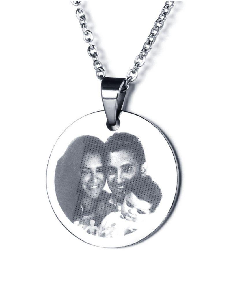 juwelora Ketting met foto 'circle' - stainless steel