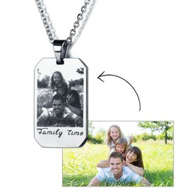 Gepersonaliseerde sieraden Necklace with photo and text - stainless steel