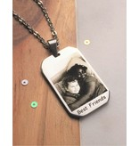 Gegraveerde sieraden Necklace with photo and text - stainless steel