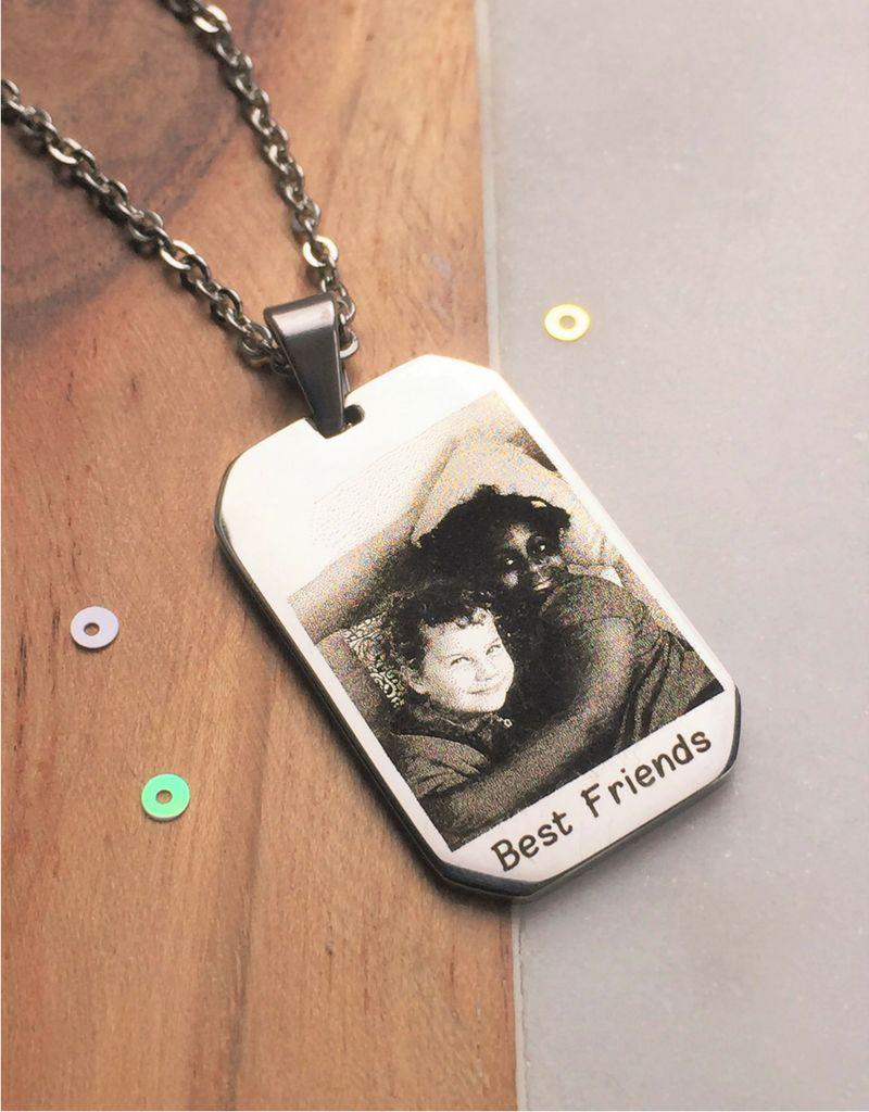 juwelora Ketting met foto en tekst - stainless steel