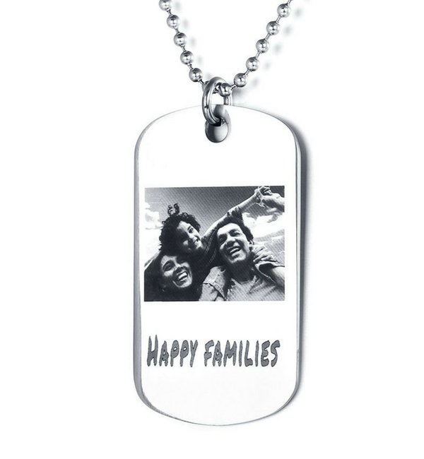 Sieraden Necklace with photo - stainless steel