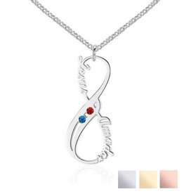 Gegraveerde sieraden Silver Necklace 'Swarovski Birthstones two hearts' - Copy