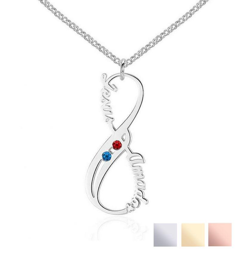 Silver Necklace 'Swarovski Birthstones two hearts' - Copy