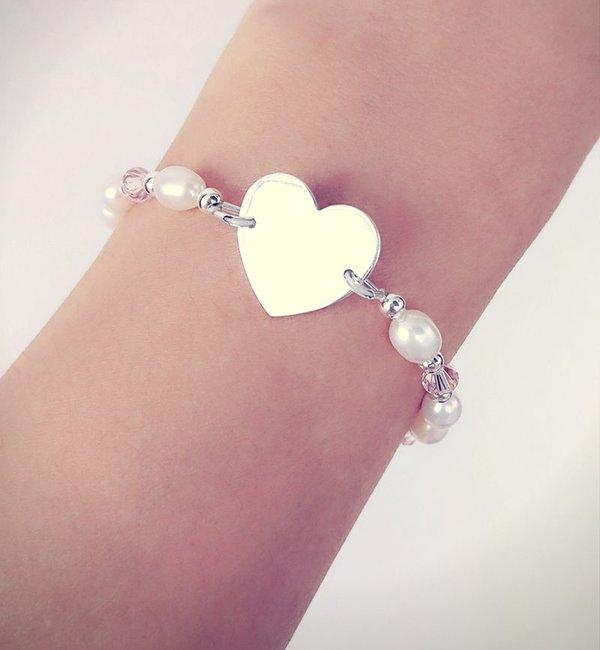 Sieraden graveren Infinity Bracelet silver 'forever' with Pearl - Copy - Copy
